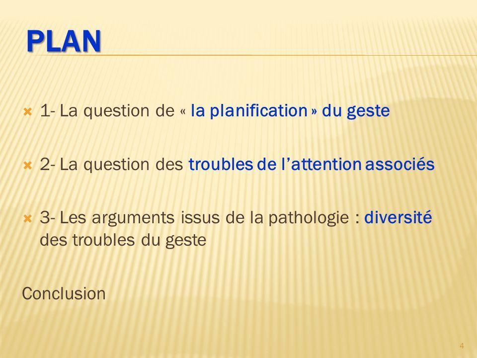 PLAN 1- La question de « la planification » du geste 2- La question des troubles de lattention associés 3- Les arguments issus de la pathologie : diversité des troubles du geste Conclusions 55