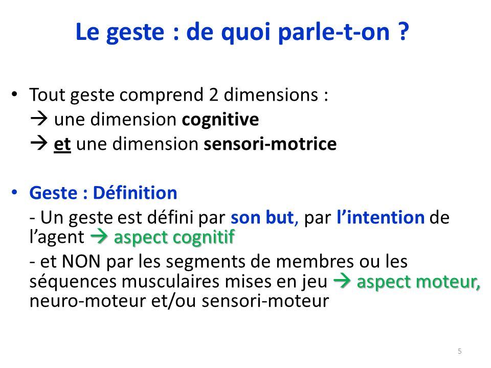 Tout geste comprend 2 dimensions : une dimension cognitive et une dimension sensori-motrice Geste : Définition aspect cognitif - Un geste est défini p
