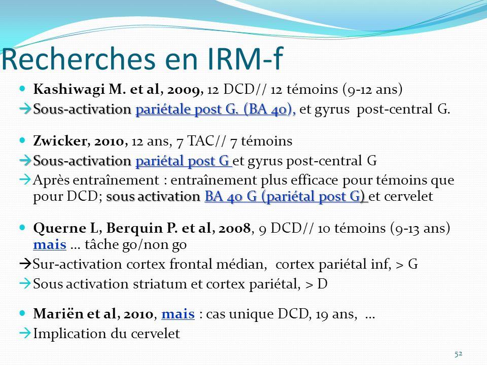 Recherches en IRM-f Kashiwagi M. et al, 2009, 12 DCD// 12 témoins (9-12 ans) Sous-activation pariétale post G. (BA 40), Sous-activation pariétale post