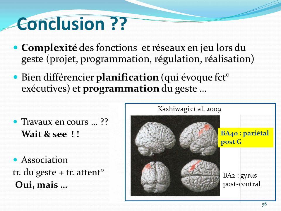 Conclusion ?? Complexité des fonctions et réseaux en jeu lors du geste (projet, programmation, régulation, réalisation) Bien différencier planificatio