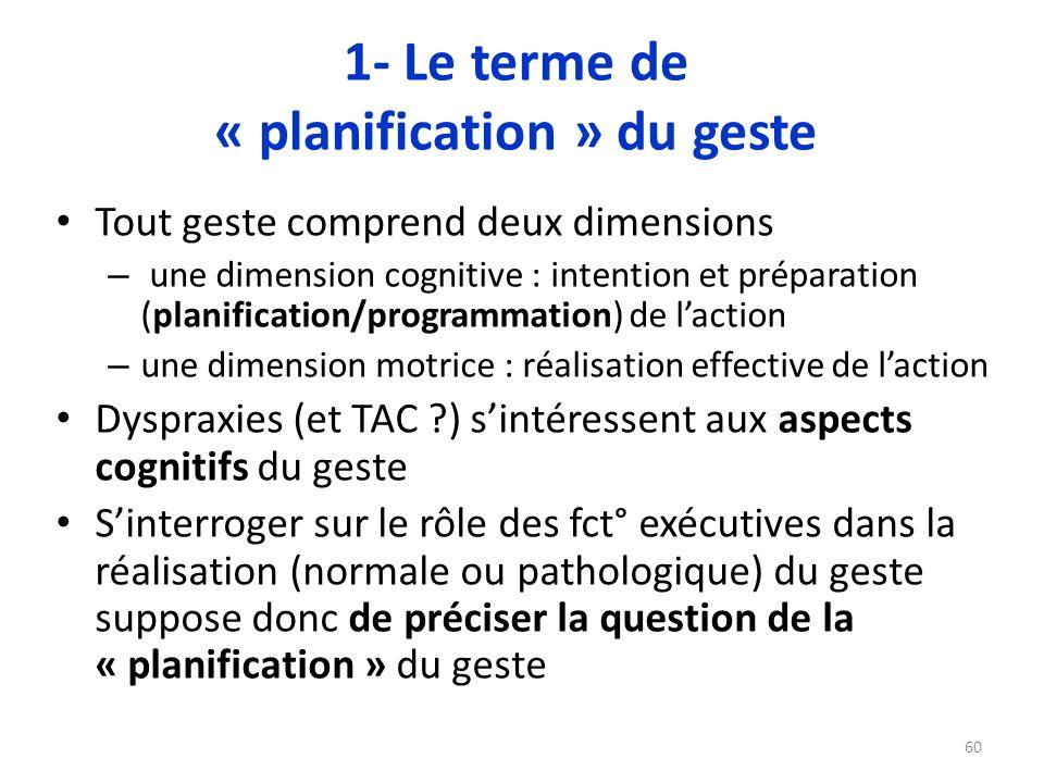 1- Le terme de « planification » du geste Tout geste comprend deux dimensions – une dimension cognitive : intention et préparation (planification/prog