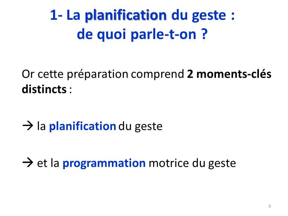 Or cette préparation comprend 2 moments-clés distincts : la planification du geste et la programmation motrice du geste 8 planification 1- La planific