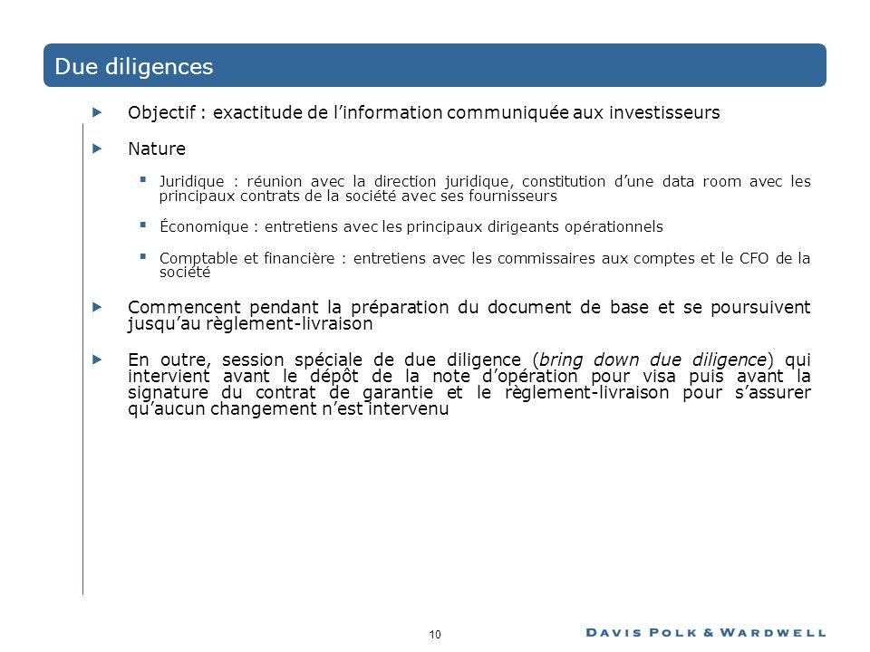 10 Due diligences Objectif : exactitude de linformation communiquée aux investisseurs Nature Juridique : réunion avec la direction juridique, constitu