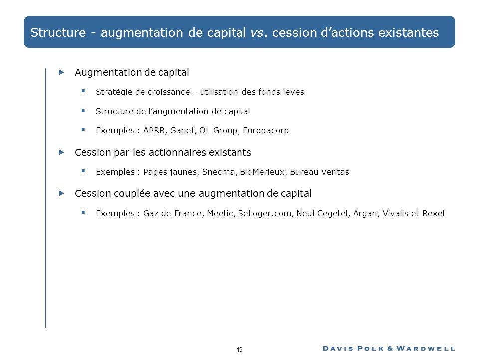19 Structure - augmentation de capital vs. cession dactions existantes Augmentation de capital Stratégie de croissance – utilisation des fonds levés S