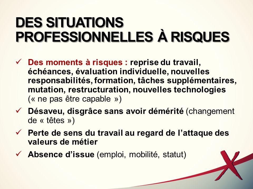 DES SITUATIONS PROFESSIONNELLES À RISQUES Des moments à risques : reprise du travail, échéances, évaluation individuelle, nouvelles responsabilités, f