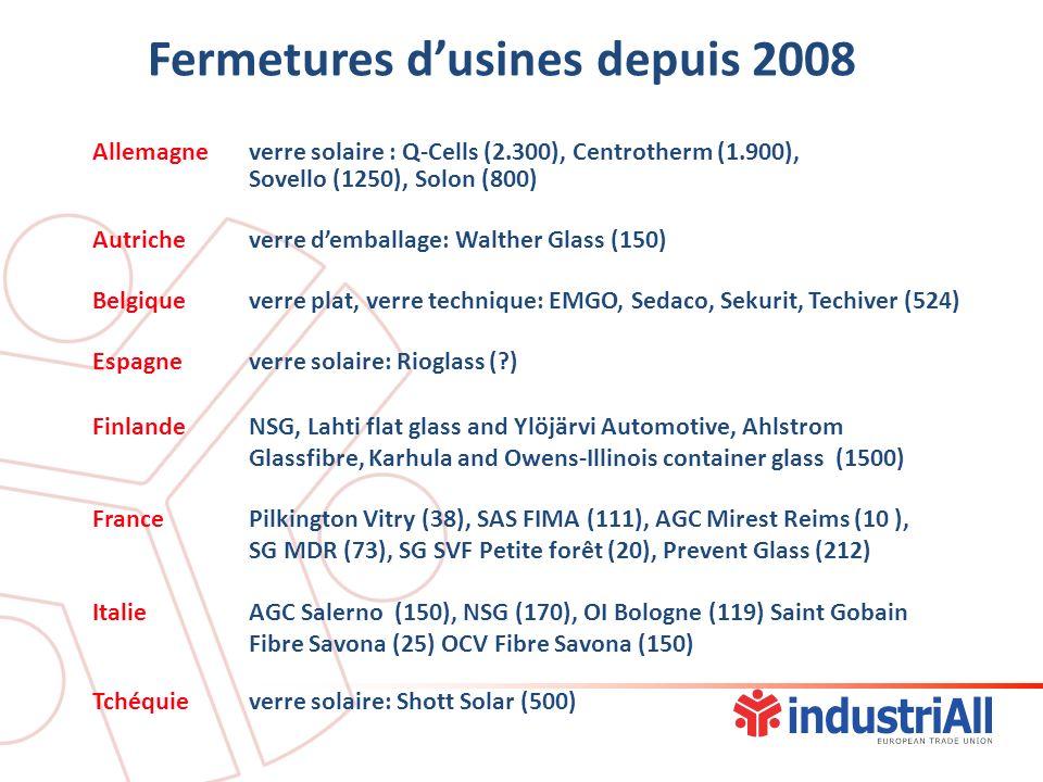 Allemagneverre solaire : Q-Cells (2.300), Centrotherm (1.900), Sovello (1250), Solon (800) Autricheverre demballage: Walther Glass (150) Belgiqueverre