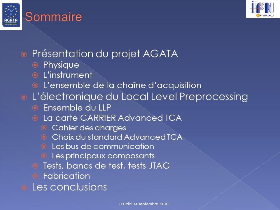 Présentation du projet AGATA Physique Linstrument Lensemble de la chaîne dacquisition Lélectronique du Local Level Preprocessing Ensemble du LLP La ca