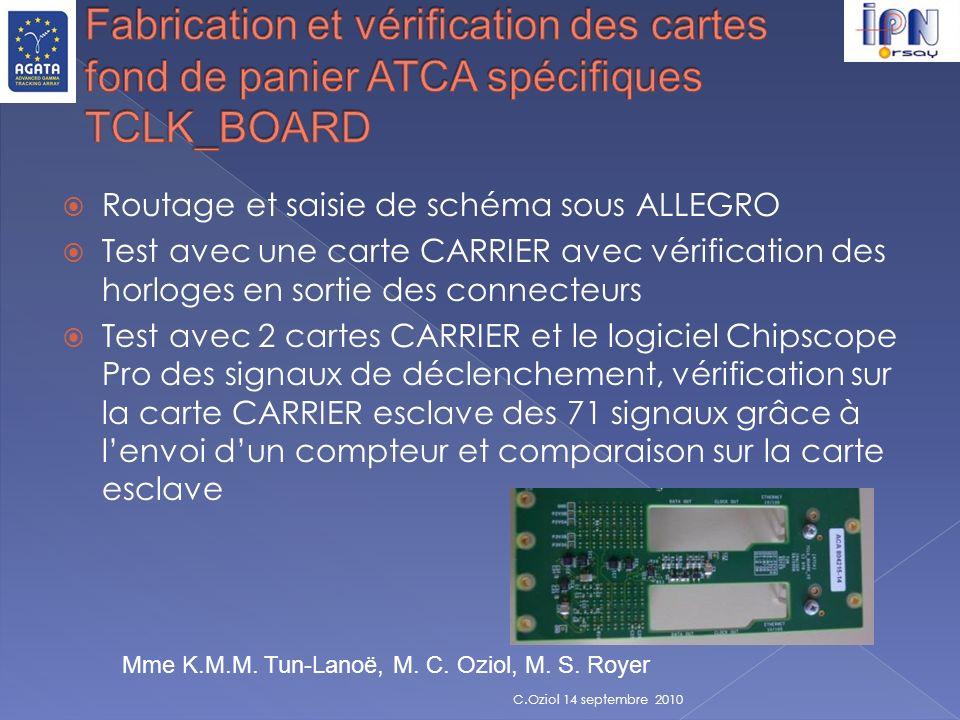 Routage et saisie de schéma sous ALLEGRO Test avec une carte CARRIER avec vérification des horloges en sortie des connecteurs Test avec 2 cartes CARRI