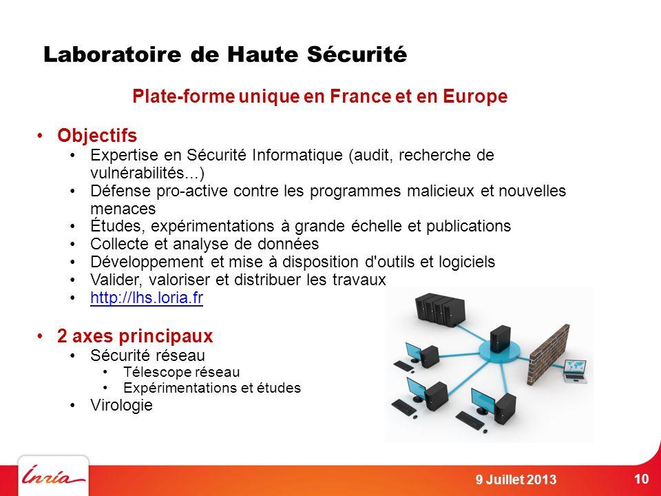 Laboratoire de Haute Sécurité Plate-forme unique en France et en Europe Objectifs Expertise en Sécurité Informatique (audit, recherche de vulnérabilit