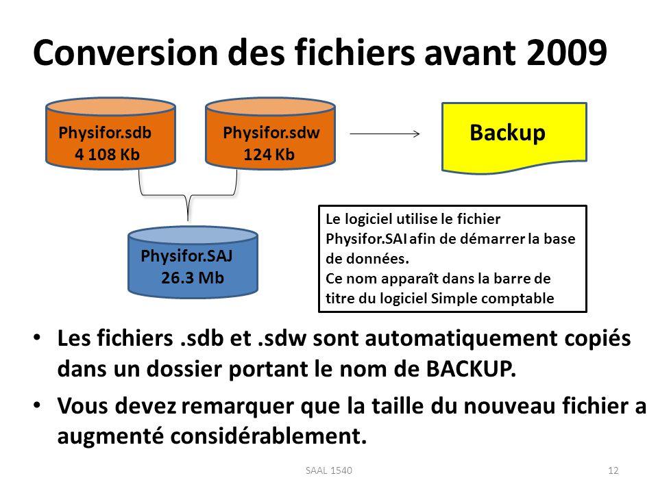 Conversion des fichiers avant 2009 Les fichiers.sdb et.sdw sont automatiquement copiés dans un dossier portant le nom de BACKUP. Vous devez remarquer