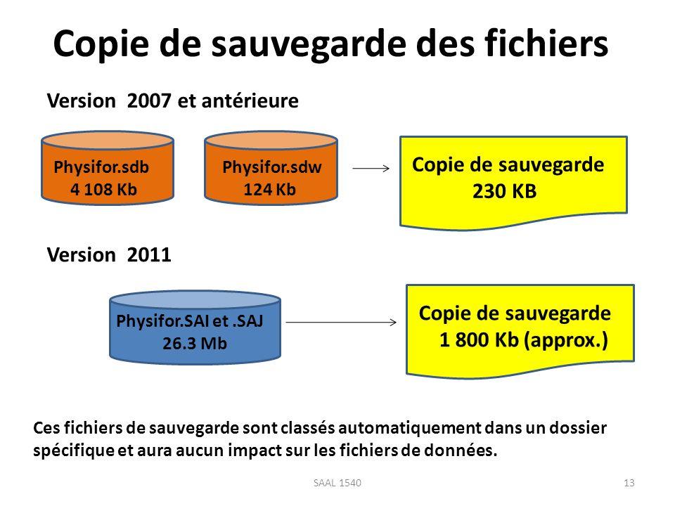 Copie de sauvegarde des fichiers Physifor.sdb 4 108 Kb Physifor.sdw 124 Kb Physifor.SAI et.SAJ 26.3 Mb Copie de sauvegarde 230 KB Copie de sauvegarde