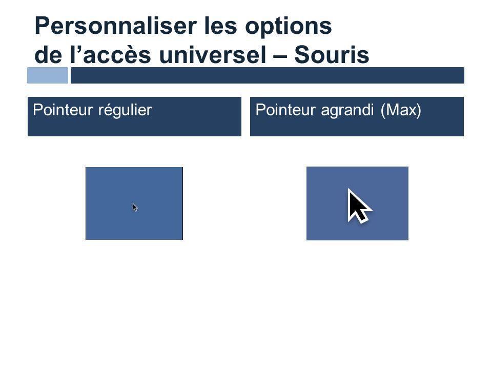 Personnaliser les options de laccès universel – Souris Pointeur régulierPointeur agrandi (Max)