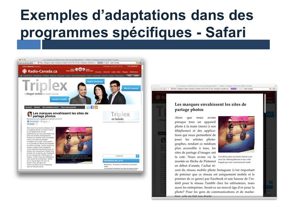 Exemples dadaptations dans des programmes spécifiques - Safari