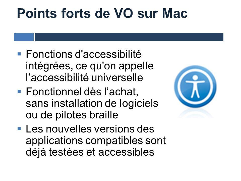 Fonctions d'accessibilité intégrées, ce qu'on appelle laccessibilité universelle Fonctionnel dès lachat, sans installation de logiciels ou de pilotes