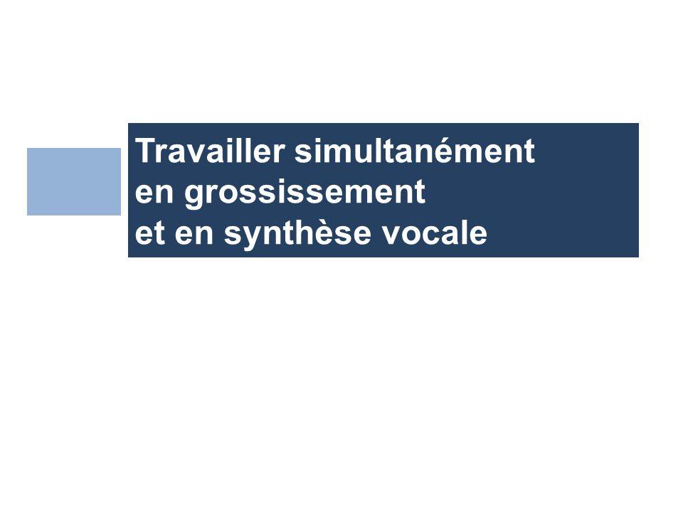 Travailler simultanément en grossissement et en synthèse vocale