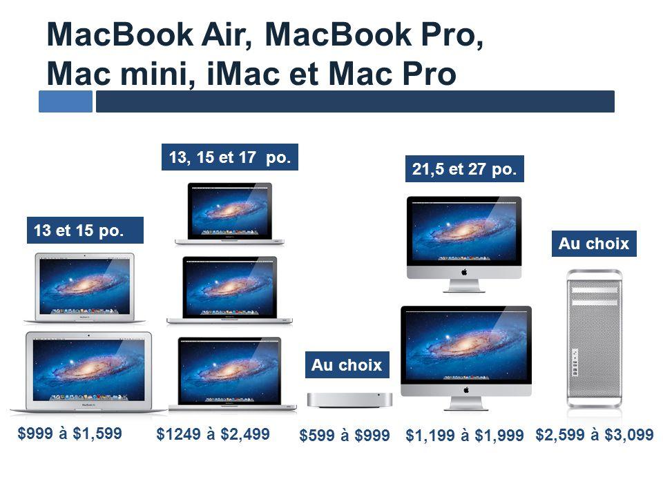 MacBook Air, MacBook Pro, Mac mini, iMac et Mac Pro 13 et 15 po. Au choix 13, 15 et 17 po. Au choix $999 à $1,599 $1249 à $2,499 $1,199 à $1,999$599 à