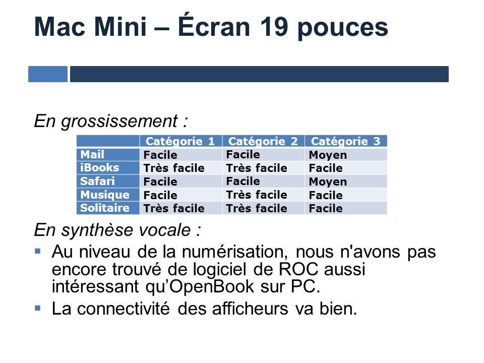 Mac Mini – Écran 19 pouces En grossissement : En synthèse vocale : Au niveau de la numérisation, nous n'avons pas encore trouvé de logiciel de ROC aus
