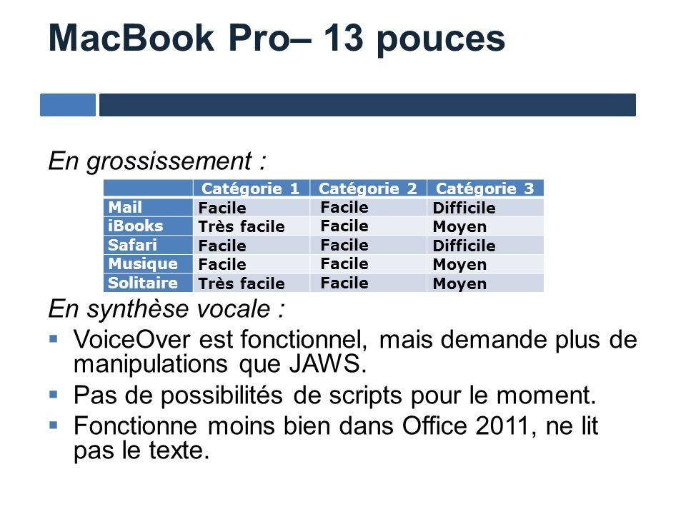 MacBook Pro– 13 pouces En grossissement : En synthèse vocale : VoiceOver est fonctionnel, mais demande plus de manipulations que JAWS. Pas de possibil