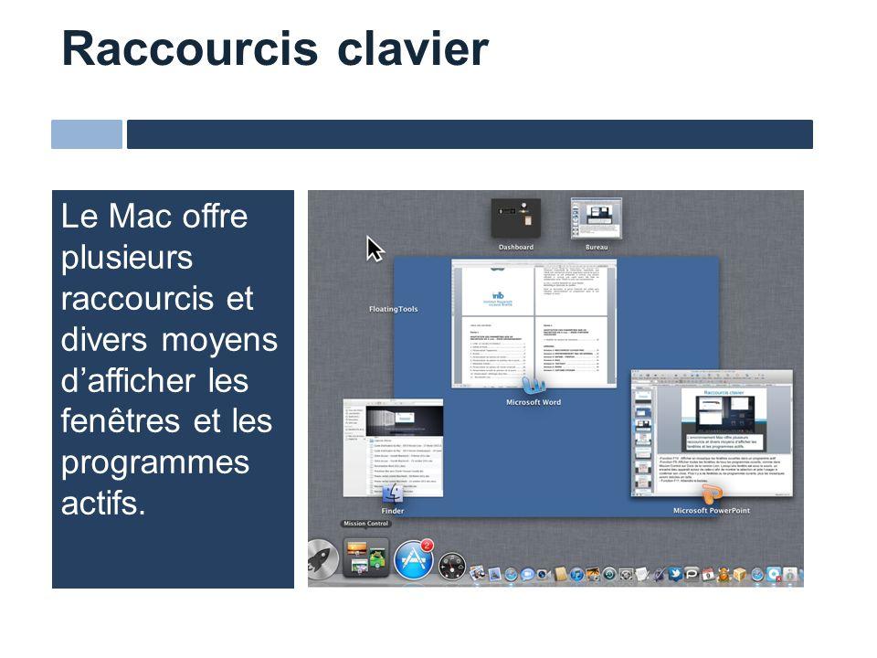 Le Mac offre plusieurs raccourcis et divers moyens dafficher les fenêtres et les programmes actifs. Raccourcis clavier