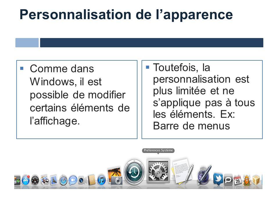 Personnalisation de lapparence Comme dans Windows, il est possible de modifier certains éléments de laffichage. Toutefois, la personnalisation est plu