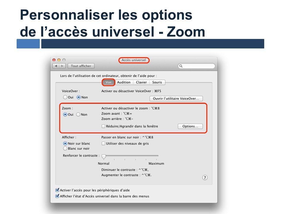 Personnaliser les options de laccès universel - Zoom