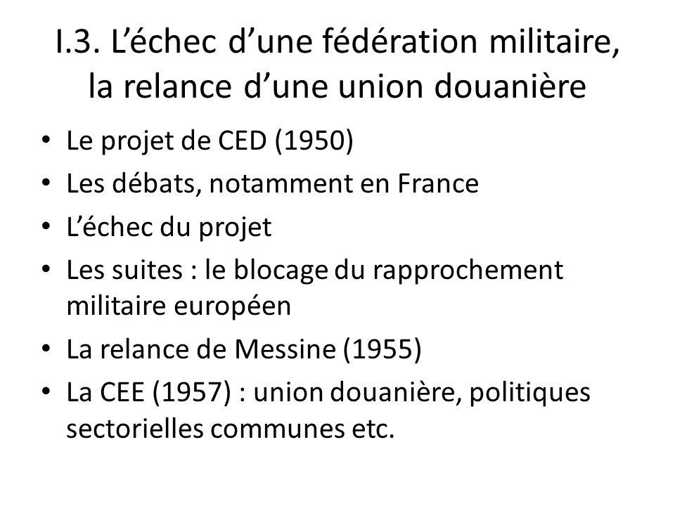I.3. Léchec dune fédération militaire, la relance dune union douanière Le projet de CED (1950) Les débats, notamment en France Léchec du projet Les su