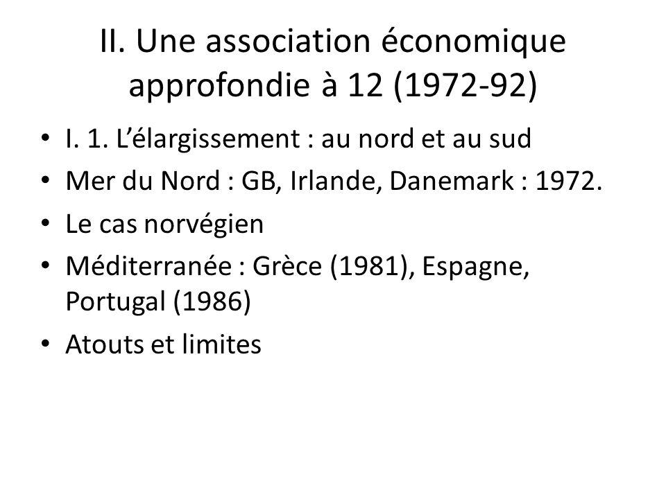 II. Une association économique approfondie à 12 (1972-92) I. 1. Lélargissement : au nord et au sud Mer du Nord : GB, Irlande, Danemark : 1972. Le cas