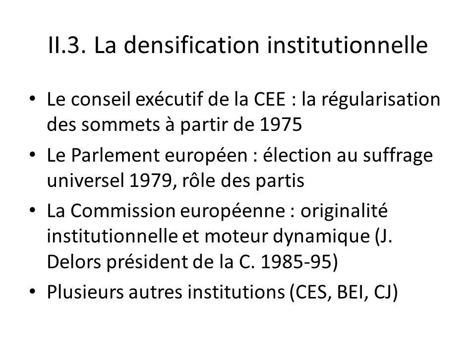 II.3. La densification institutionnelle Le conseil exécutif de la CEE : la régularisation des sommets à partir de 1975 Le Parlement européen : électio