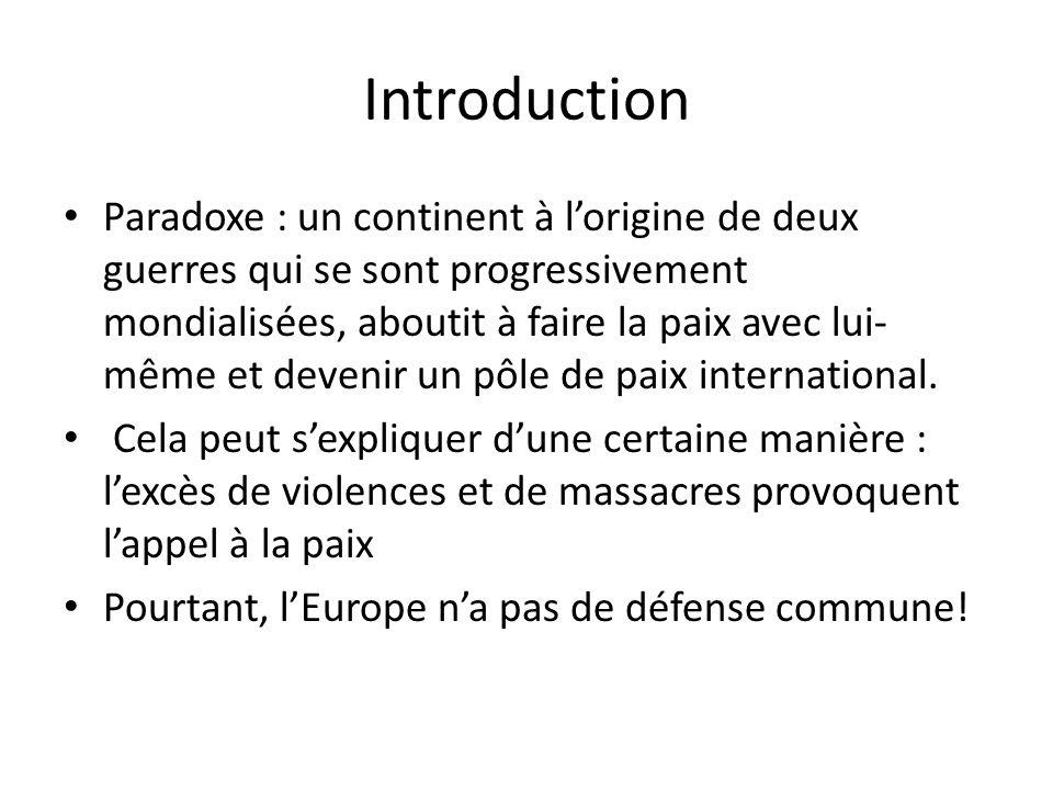 Introduction Paradoxe : un continent à lorigine de deux guerres qui se sont progressivement mondialisées, aboutit à faire la paix avec lui- même et de