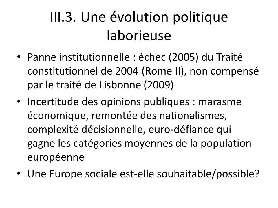 III.3. Une évolution politique laborieuse Panne institutionnelle : échec (2005) du Traité constitutionnel de 2004 (Rome II), non compensé par le trait