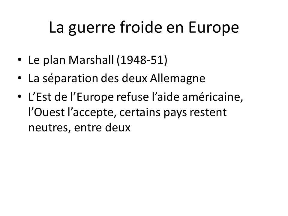 La guerre froide en Europe Le plan Marshall (1948-51) La séparation des deux Allemagne LEst de lEurope refuse laide américaine, lOuest laccepte, certa