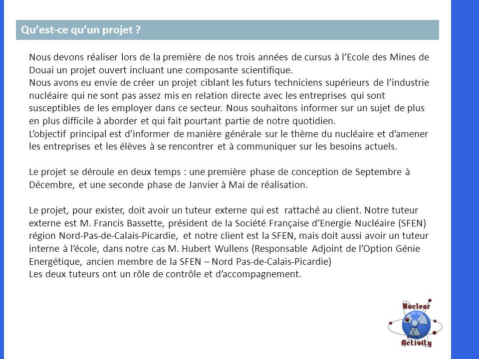 Quest-ce quun projet ? Nous devons réaliser lors de la première de nos trois années de cursus à lEcole des Mines de Douai un projet ouvert incluant un
