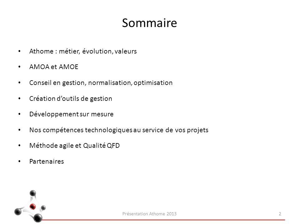 Sommaire Athome : métier, évolution, valeurs AMOA et AMOE Conseil en gestion, normalisation, optimisation Création doutils de gestion Développement su
