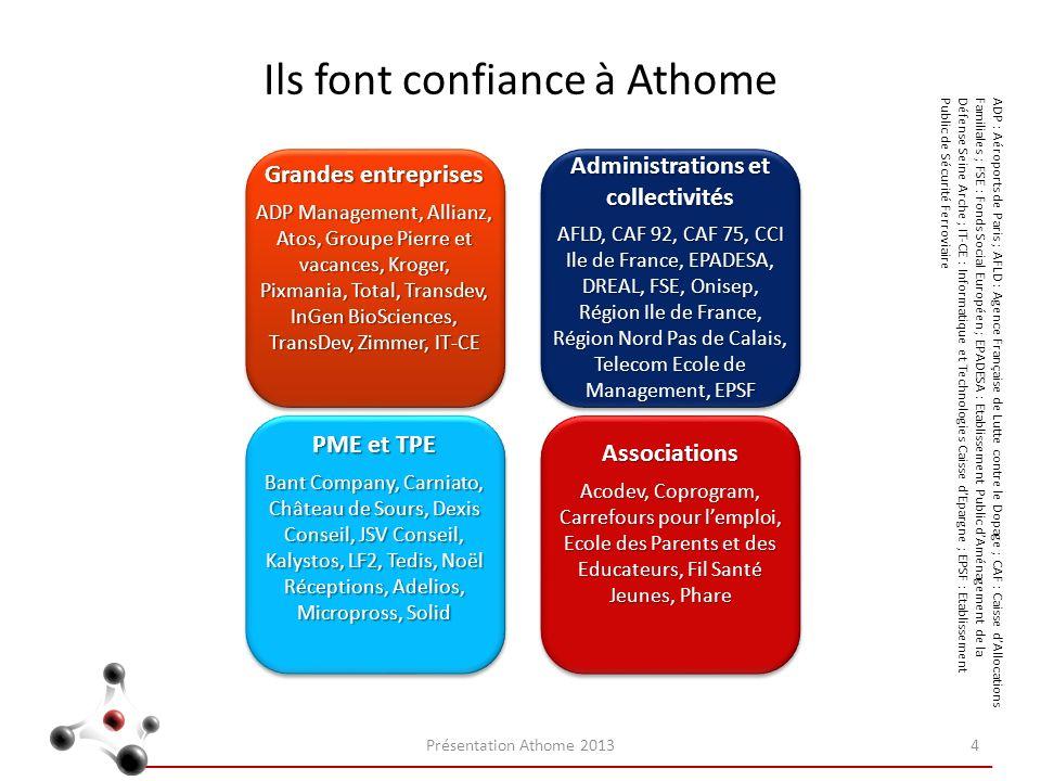 Ils font confiance à Athome Présentation Athome 20134 Grandes entreprises ADP Management, Allianz, Atos, Groupe Pierre et vacances, Kroger, Pixmania,