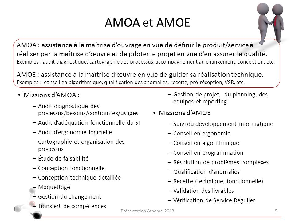 AMOA et AMOE Missions dAMOA : – Audit-diagnostique des processus/besoins/contraintes/usages – Audit dadéquation fonctionnelle du SI – Audit dergonomie