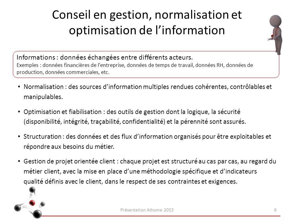 Conseil en gestion, normalisation et optimisation de linformation Normalisation : des sources dinformation multiples rendues cohérentes, contrôlables