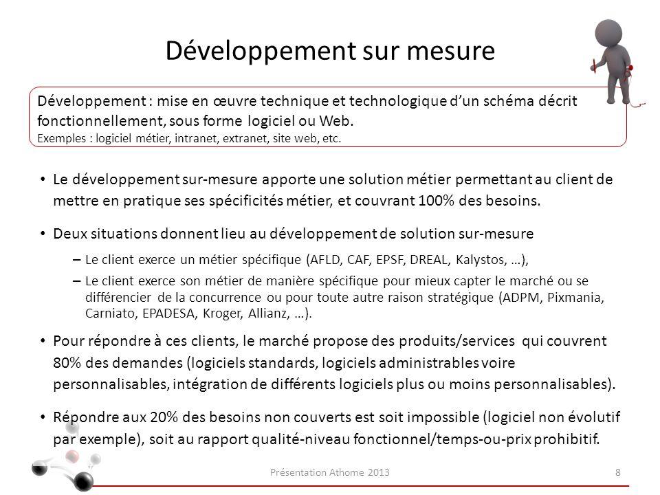 Développement sur mesure Le développement sur-mesure apporte une solution métier permettant au client de mettre en pratique ses spécificités métier, e