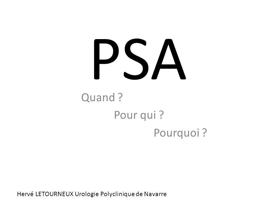 PSA : Prostate Specific Antigen Nature : Glyco-protéine (327 AA) Lieux de synthèse : fabriquée par la prostate Rôle : liquéfier le sperme (mobilité des spz) Dosage sanguin : une très faible part du PSA passe dans le sang (ng/ml) PSA Total = PSA libre + PSA conjugué