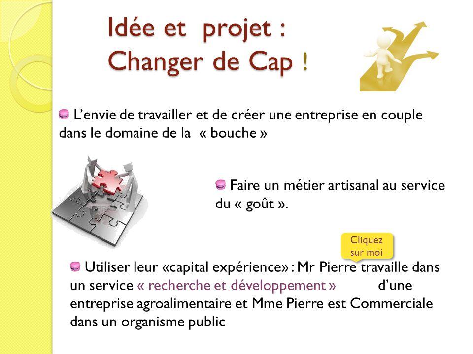 Idée et projet : Changer de Cap ! Lenvie de travailler et de créer une entreprise en couple dans le domaine de la « bouche » Utiliser leur «capital ex