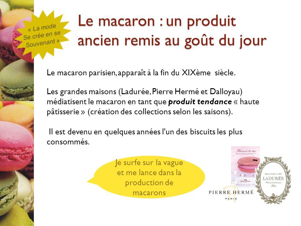 Le macaron parisien, apparaît à la fin du XIXème siècle. Les grandes maisons (Ladurée, Pierre Hermé et Dalloyau) médiatisent le macaron en tant que pr