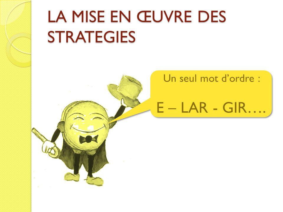 LA MISE EN ŒUVRE DES STRATEGIES Un seul mot dordre : E – LAR - GIR…. Un seul mot dordre : E – LAR - GIR….