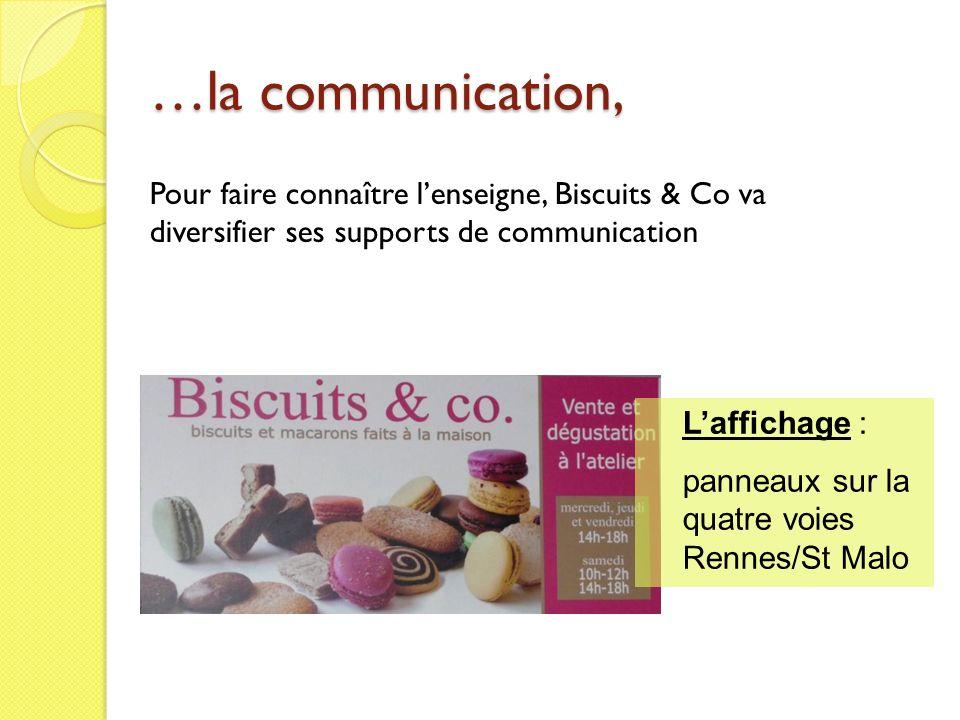 …la communication, Pour faire connaître lenseigne, Biscuits & Co va diversifier ses supports de communication Laffichage : panneaux sur la quatre voie