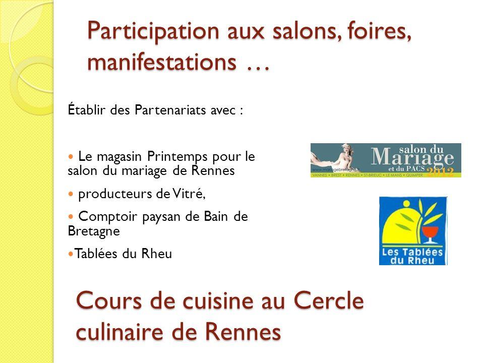 Participation aux salons, foires, manifestations … Établir des Partenariats avec : Le magasin Printemps pour le salon du mariage de Rennes producteurs