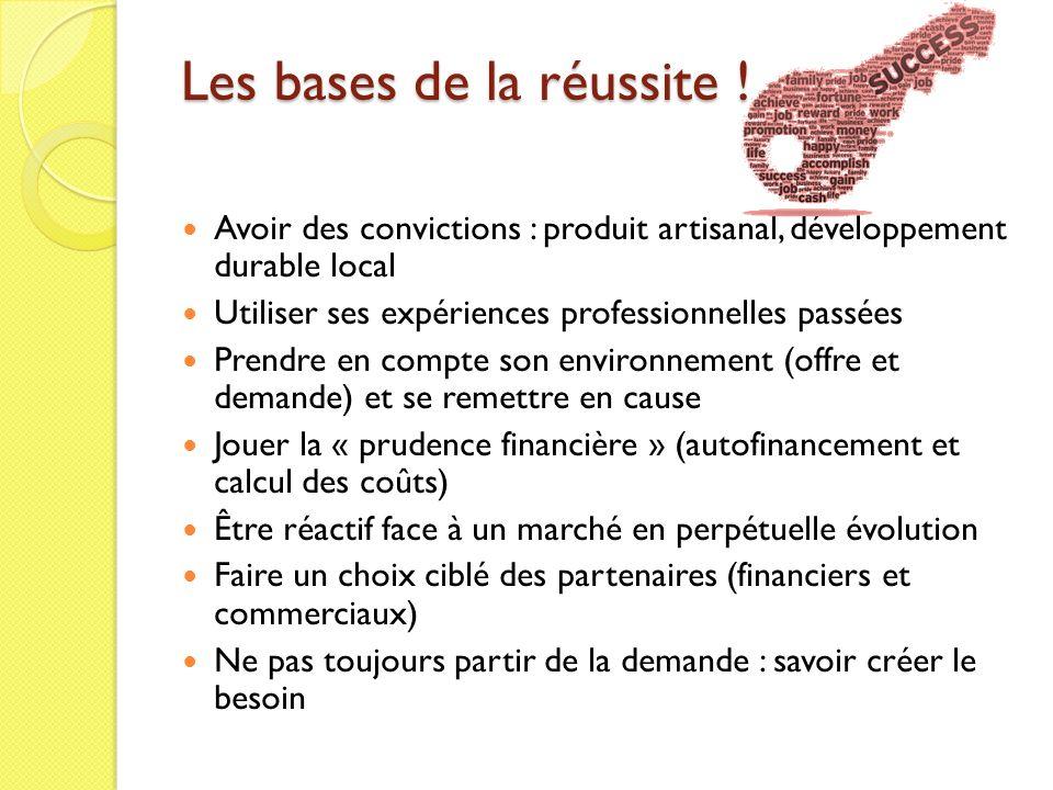 Les bases de la réussite ! Avoir des convictions : produit artisanal, développement durable local Utiliser ses expériences professionnelles passées Pr