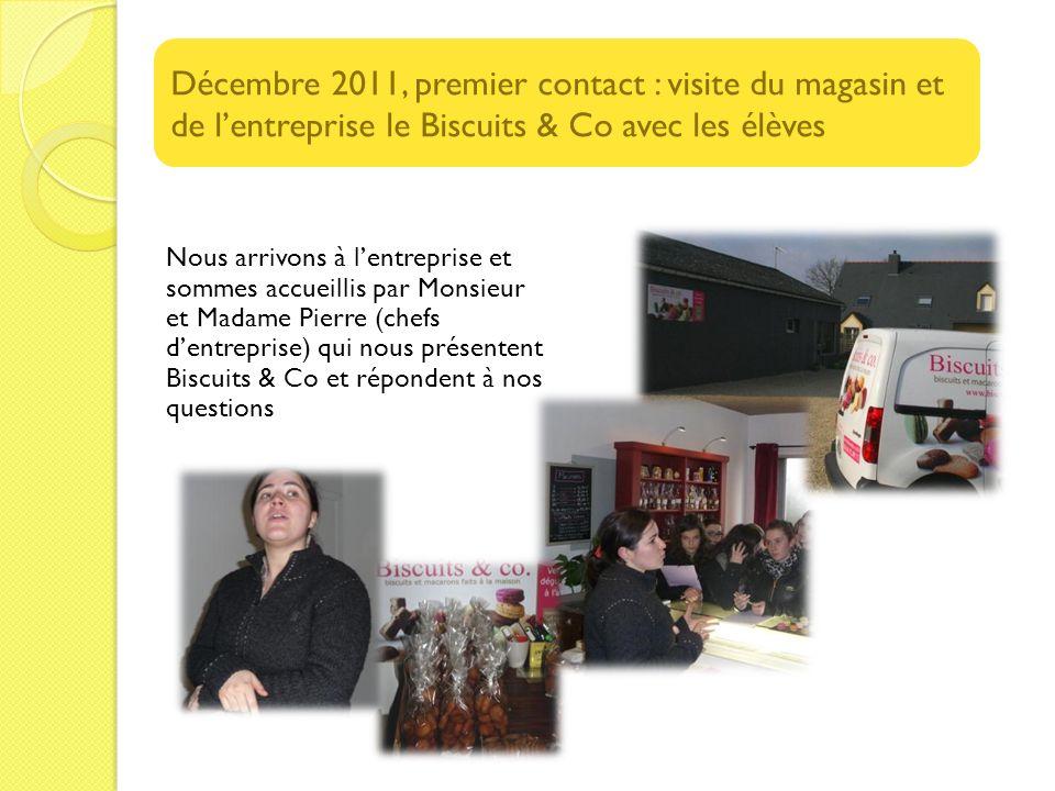 Nous arrivons à lentreprise et sommes accueillis par Monsieur et Madame Pierre (chefs dentreprise) qui nous présentent Biscuits & Co et répondent à no
