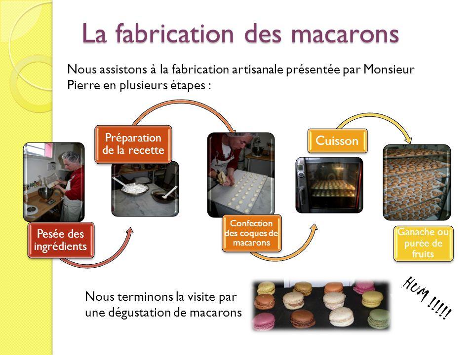 La fabrication des macarons Nous assistons à la fabrication artisanale présentée par Monsieur Pierre en plusieurs étapes : Pesée des ingrédients Prépa