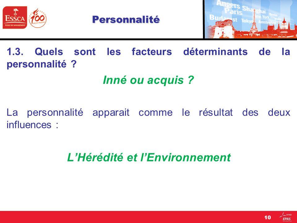 Personnalité 1.3. Quels sont les facteurs déterminants de la personnalité ? Inné ou acquis ? La personnalité apparait comme le résultat des deux influ