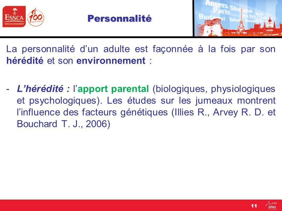 Personnalité La personnalité dun adulte est façonnée à la fois par son hérédité et son environnement : -Lhérédité : lapport parental (biologiques, phy