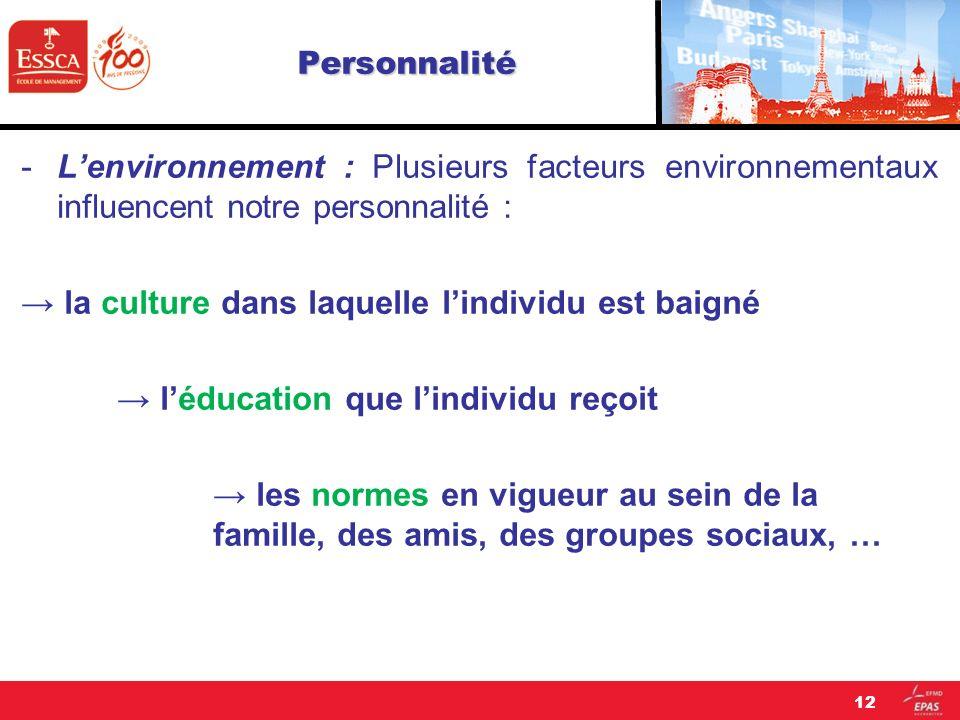 Personnalité -Lenvironnement : Plusieurs facteurs environnementaux influencent notre personnalité : la culture dans laquelle lindividu est baigné lédu