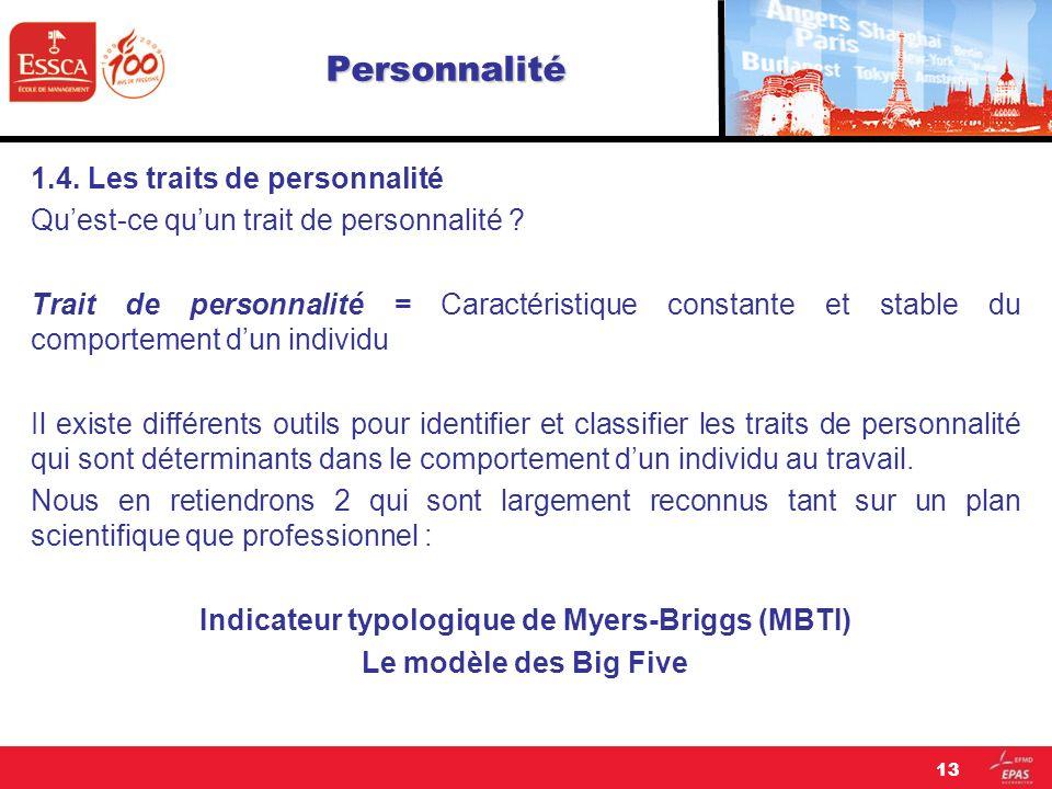 Personnalité 1.4. Les traits de personnalité Quest-ce quun trait de personnalité ? Trait de personnalité = Caractéristique constante et stable du comp